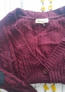 Olive and Oak Maroon Cardigan